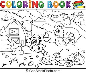Coloring book cow near farm theme 3 - Coloring book cow near...