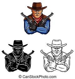 Coloring book Cowboy caracter - Coloring book Cowboy cartoon...