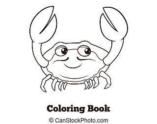 Coloring book crab cartoon educational