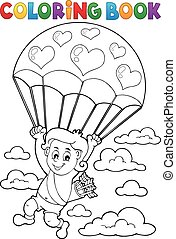Coloring book Cupid with parachute - eps10 vector...