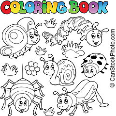 Coloring book cute bugs 1 - vector illustration.