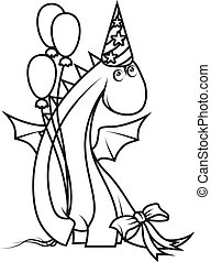 Coloring book: Cute cartoon dragon wearing party hat and holding balloons