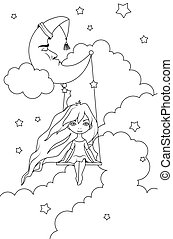 Coloring book: Cute little girl swinging on a crescent in front of night sky. Insomnia concept. Cartoon style vector illustration