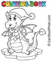 Coloring book cute winter dragon - vector illustration.