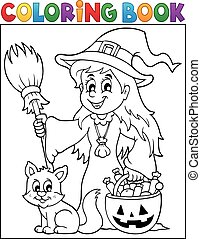 Coloring book cute witch and cat