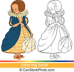 Coloring book. Cute young princess