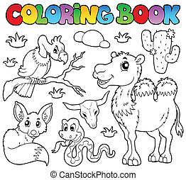 Coloring book desert animals 1 - vector illustration.