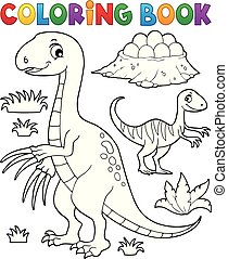 Coloring book dinosaur subject image 3 - eps10 vector...