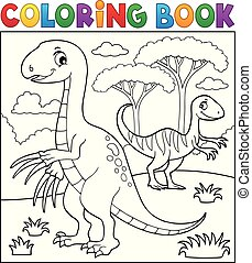 Coloring book dinosaur subject image 4 - eps10 vector...