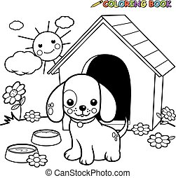 Coloring book dog outside doghouse - A black and white...
