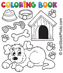 Coloring book dog theme 2 - eps10 vector illustration.