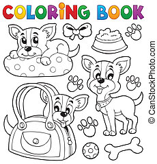 Coloring book dog theme 8 - eps10 vector illustration.