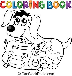 Coloring book dog with schoolbag