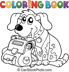 Coloring book dog with schoolbag theme 1