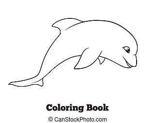 Coloring book dolphin cartoon educational