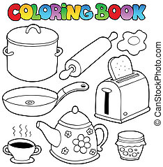 Coloring book domestic collection 1 - vector illustration.