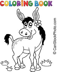 Coloring book donkey with flower