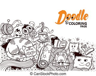 Coloring Book Doodle Home Cosiness - Funny coloring page for...