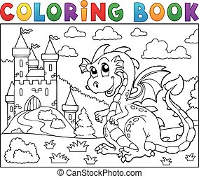 Coloring book dragon near castle