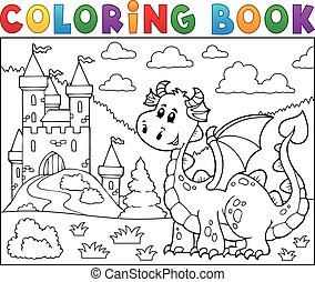 Coloring book dragon near castle theme