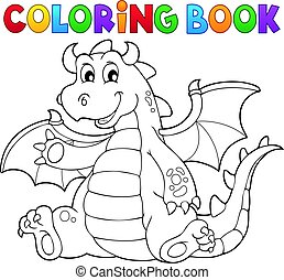 Coloring book dragon theme illustration.