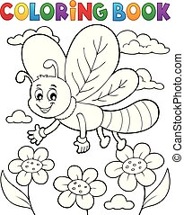 Coloring book dragonfly theme 1 - eps10 vector illustration.
