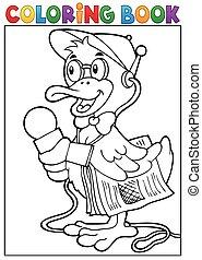 Coloring book duck reporter theme 1 - eps10 vector...