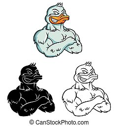 Coloring book Duck Strong caracter