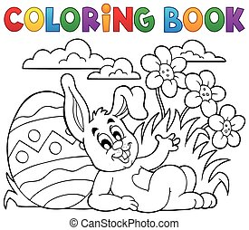 Coloring book Easter rabbit theme 2 - eps10 vector...