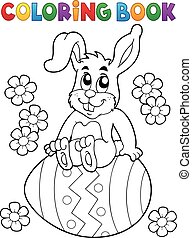 Coloring book Easter rabbit  illustration.