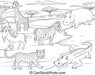 Coloring book educational game African savannah - Coloring...