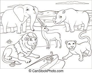Coloring book educational game for children African savannah animals cartoon vector illustration