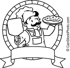 Coloring book emblem with funny cook or chief
