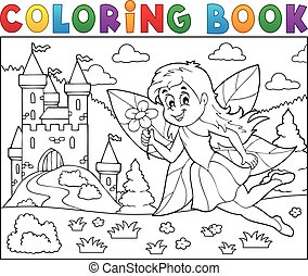 Coloring book fairy near castle