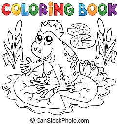 Coloring book fairy tale frog - eps10 vector illustration.