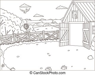 Coloring book farm cartoon educational artwork