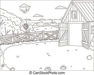 Coloring book farm cartoon educational artwork