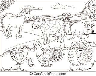 Coloring book farm cartoon educational game vector...