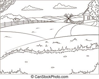Coloring book farm cartoon educational