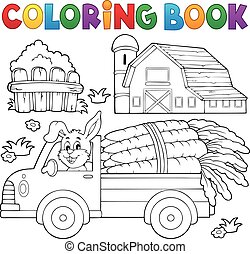 Coloring book farm truck with carrots