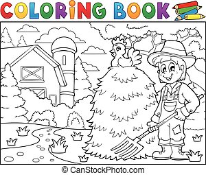 Coloring book farmer near farmhouse 1 - Coloring book farmer...