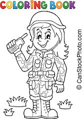 Coloring book female soldier theme 1 - eps10 vector illustration.