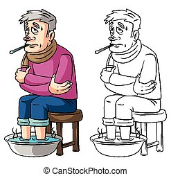 Coloring book Fever old man cartoon character - vector illustration .EPS10