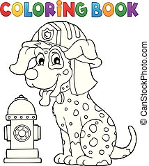 Coloring book firefighter dog theme 1