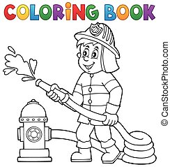 Coloring book firefighter theme 1