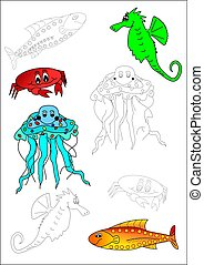 Coloring book-fish - fish crab animal color children exotic...