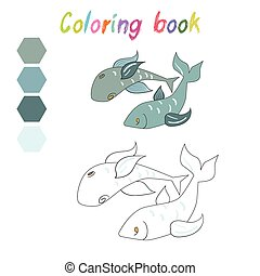 Coloring book fish kids layout for game