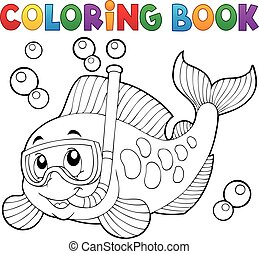 Coloring book fish snorkel diver - eps10 vector...