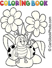 Coloring book flower and happy ladybug 1