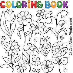 Coloring book flower topic 2